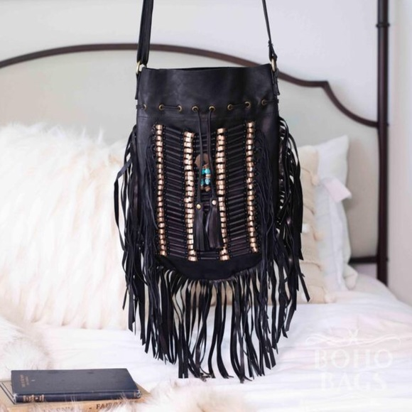 Boho Bags Handbags - Boho Bags Fringe Large Round Bag NEW